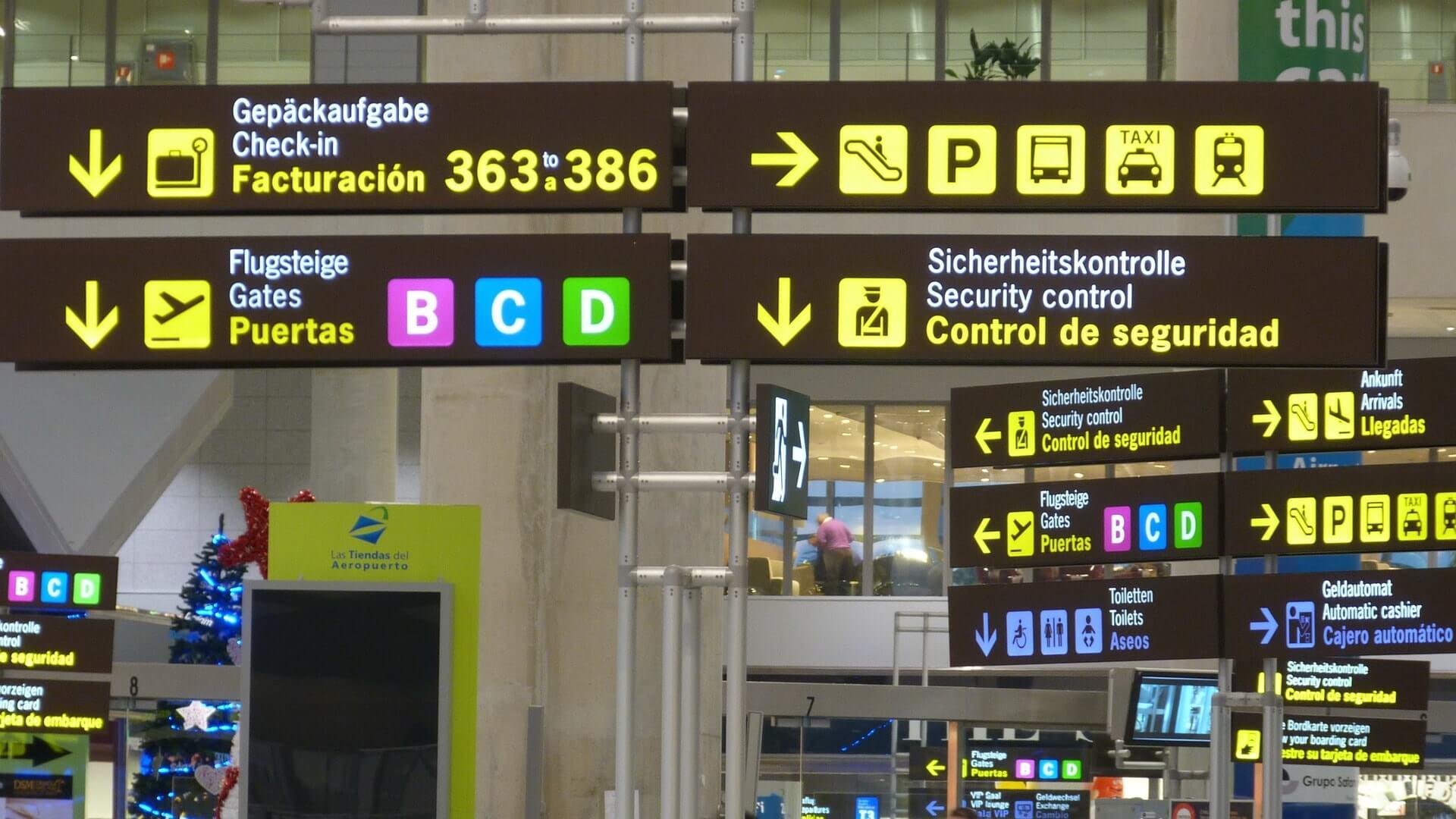 señalizacion en aeropuerto
