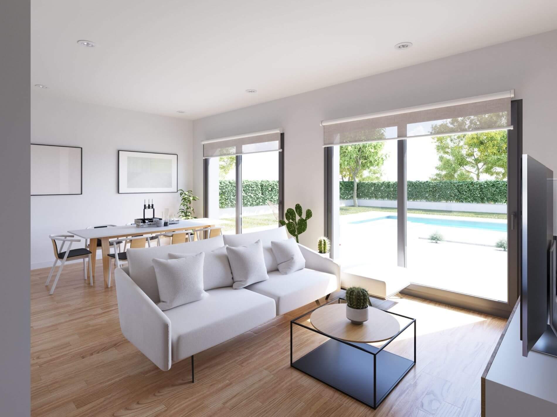 espacio interior de una vivienda prefabricada